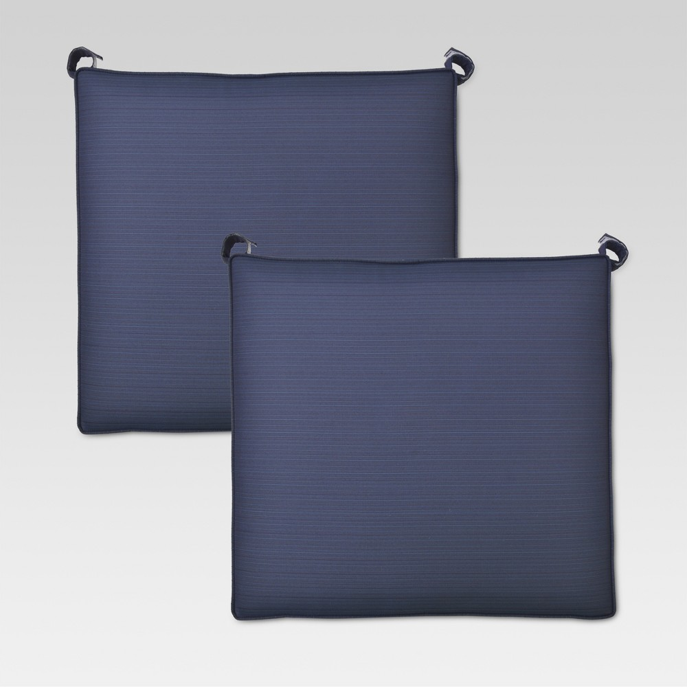 Folwell 2pk Outdoor Dining Seat Cushion - Navy (Blue) - Threshold