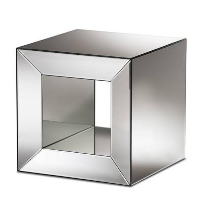 Peregrine Mirrored Glass End Table Oak/Brown - Baxton Studio