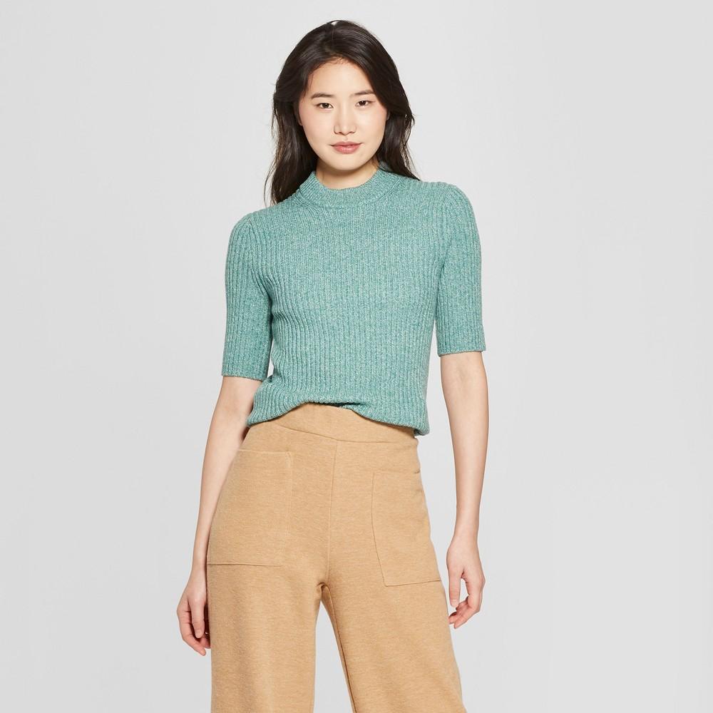 Women's Short Sleeve Shrunken Elbow Crew Sweater- Who What Wear Green Xxl