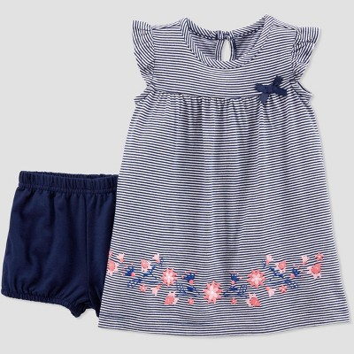 Baby Girls' Striped Floral Dress Set - Just One You® made by carter's Navy Blue 12M