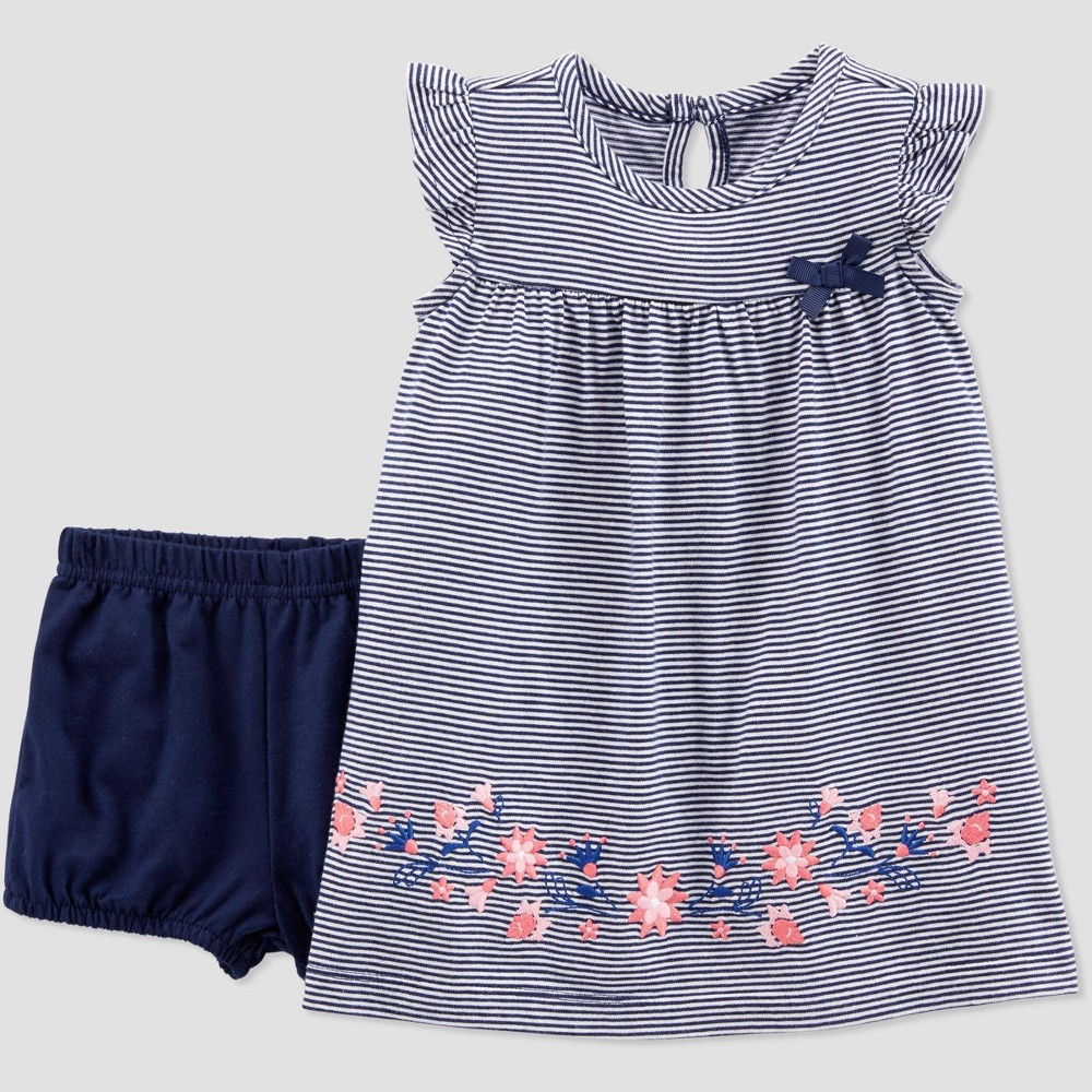 Baby Girls' Striped Floral Dress Set - Just One You made by carter's Navy Blue 6M