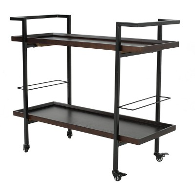 Gerard Industrial Wooden Bar Cart - Walnut - Christopher Knight Home