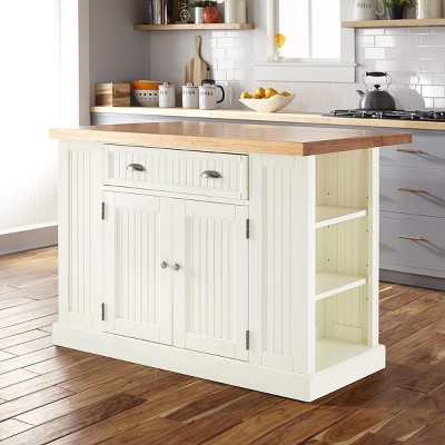 Beau Nantucket Solid Wood Top Kitchen Island White   Home Styles