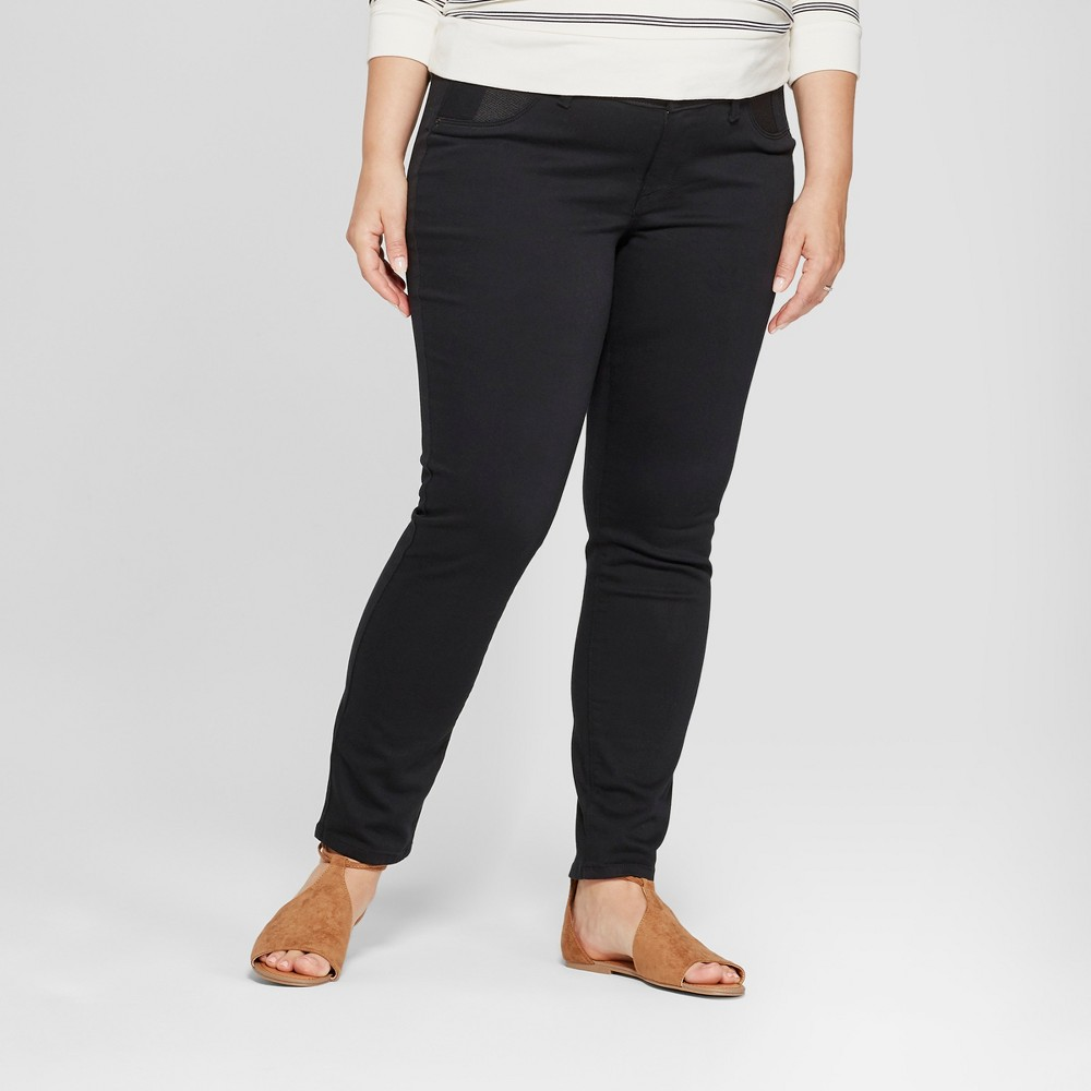 Maternity Plus Size Inset Panel Skinny Jeans - Isabel Maternity by Ingrid & Isabel Black 14W, Women's