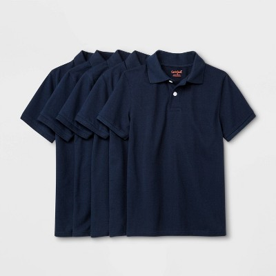Boys' 5pk Short Sleeve Uniform Polo Shirt - Cat & Jack™ Navy