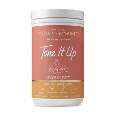 Tone It Up Plant-Based Protein + Immunity Powder - Strawberry Banana - 15.8oz