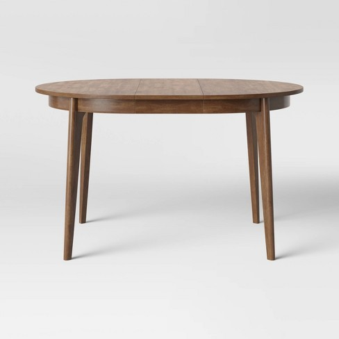 Astrid Mid Century Round Extendable, Round Dining Table With Extension Leaf
