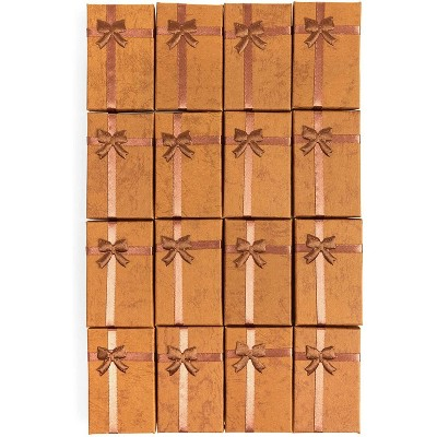 16 Pack Brown Jewelry Gift Boxes with Lids and Ribbon Bows for Display Rings, Earrings, Necklaces and Bracelets