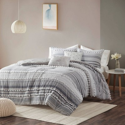 Corey King/California King 5pc Cotton Comforter Set Gray