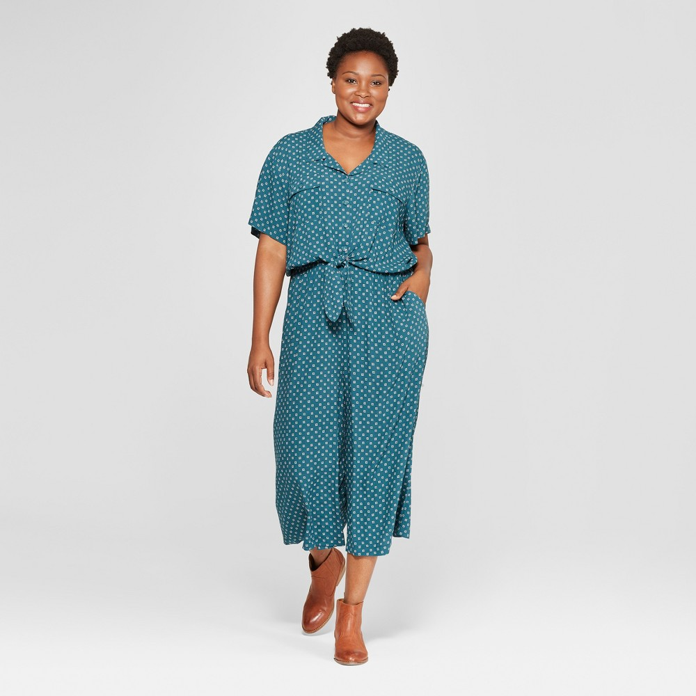 Women's Plus Size Printed Tie Front Jumpsuit - Universal Thread Blue X, Green