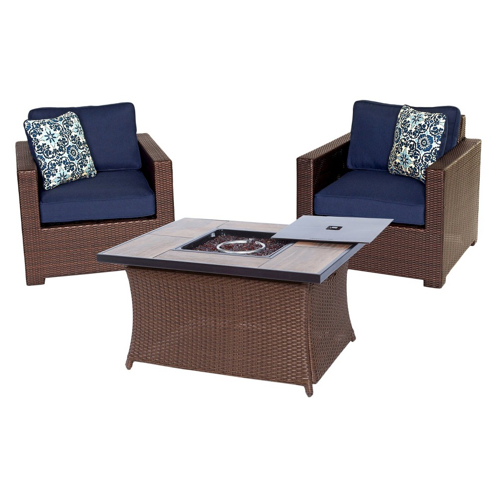 Image of Metropolitan 3pc All-Weather Wicker Outdoor Chat Set w/Fire Pit Table - Navy Blue - Hanover