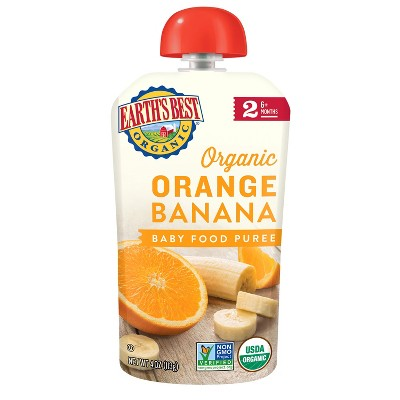 Earth's Best Organic Stage 2 Orange Banana Baby Food - 4oz