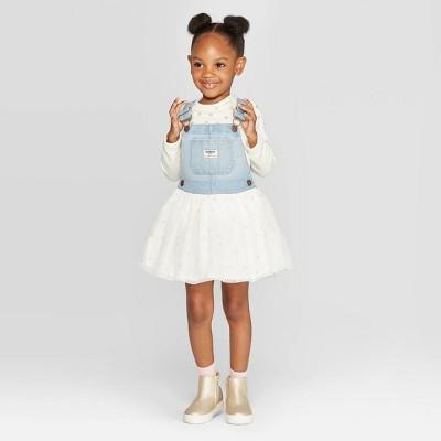 OshKosh B'gosh Toddler Girls' Denim to Sparkle Tulle Skirtall - White 18M