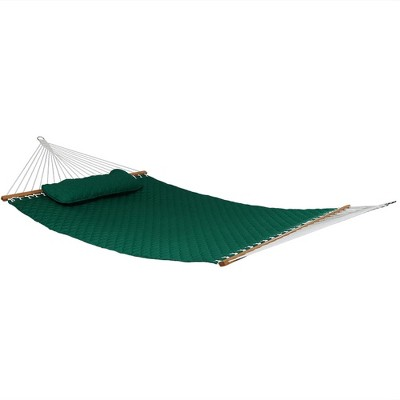 Quilted Designs Quilted Fabric Hammock - Green - Sunnydaze Decor