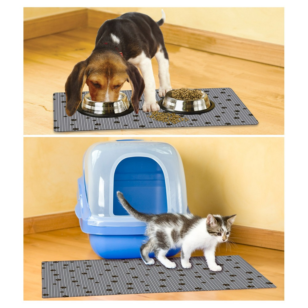 Drymate Multi-Use Paw Stripe Pet Mat Set - Gray (2ct), Multi-Colored