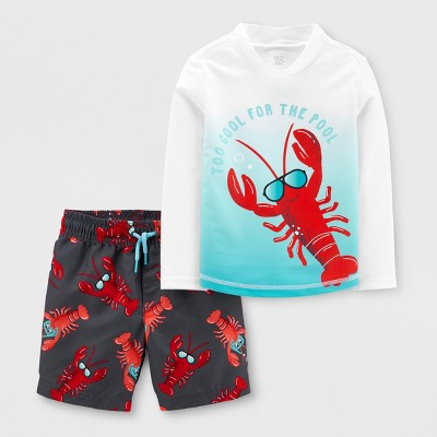 Toddler Boys' 2pc Lobster Rash Guard Set - Just One You® made by carter's White 12M