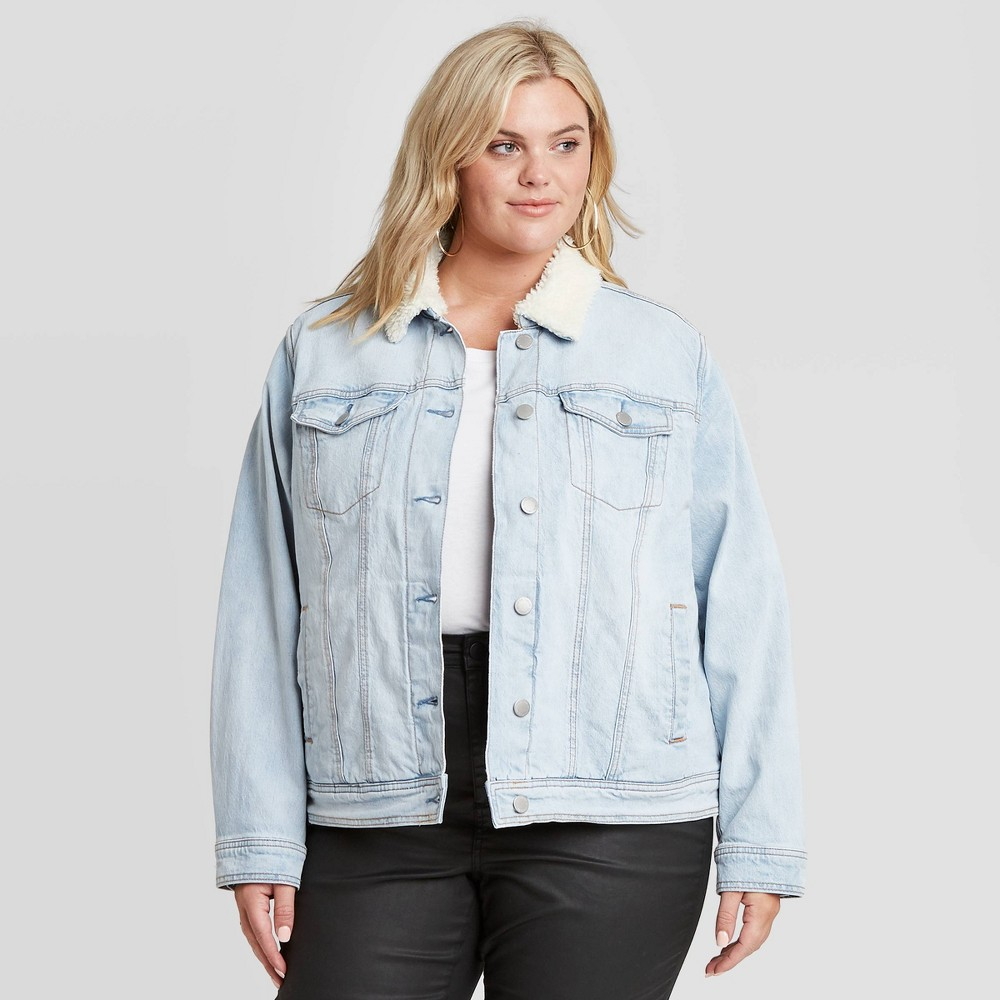 1980s Clothing, Fashion | 80s Style Clothes Womens Plus Size Sherpa Jacket - Universal Thread Light Blue 4X $34.99 AT vintagedancer.com