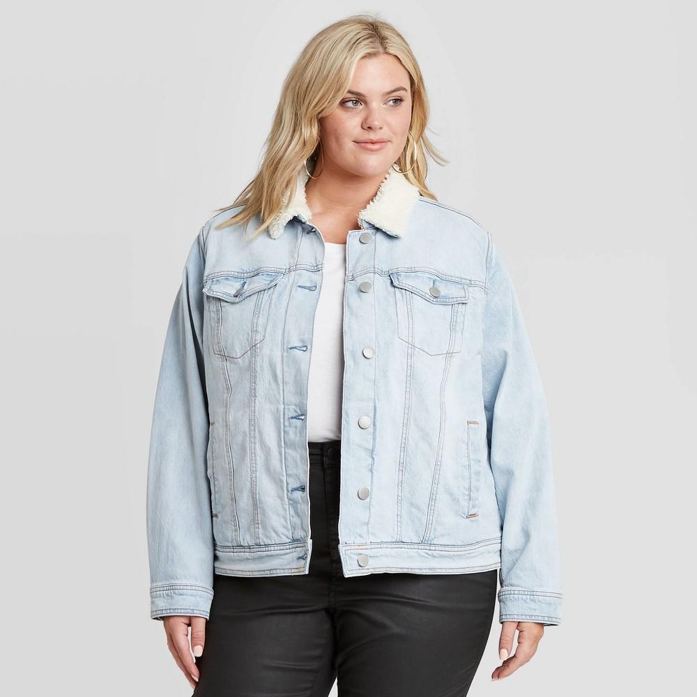 80s Windbreakers, Jackets, Coats Womens Plus Size Sherpa Jacket - Universal Thread Light Blue 4X $34.99 AT vintagedancer.com