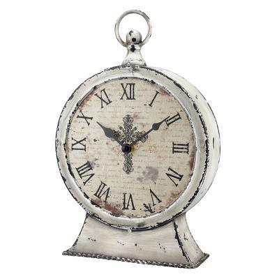 Round Worn Faith Table Clock White - Stonebriar Collection