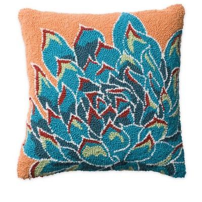 VivaTerra Succulent Hand-hooked Wool Pillow, Blue
