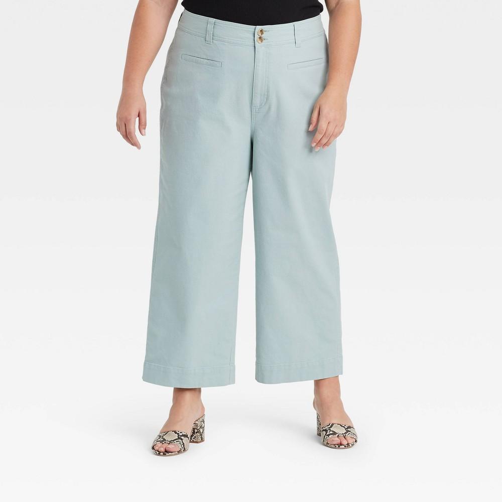 Women 39 S Plus Size Cropped Wide Leg Fashion Pants A New Day 8482 Mint 26w