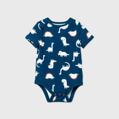 Baby Boys' Dino Short Sleeve Bodysuit - Cat & Jack™ Blue 6-9M