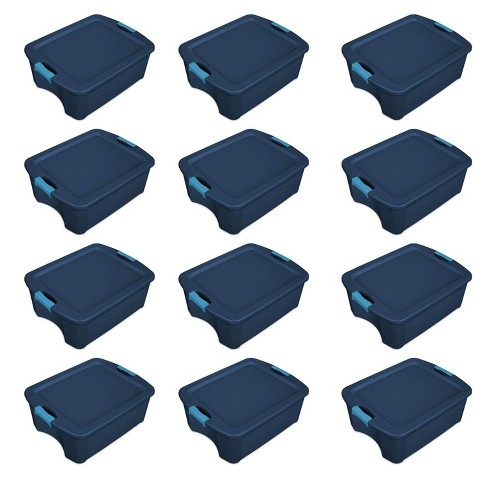 Sterilite 12 Gallon Latch and Carry Storage Tote, True Blue | 14447406 (12 Pack) - image 1 of 2