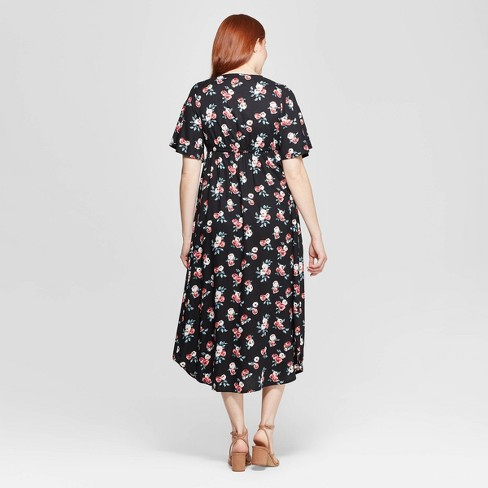 1e5c73403c9 Maternity Floral Print Wrap Maxi Dress - Isabel Maternity By Ingrid   Isabel™  Black XS   Target