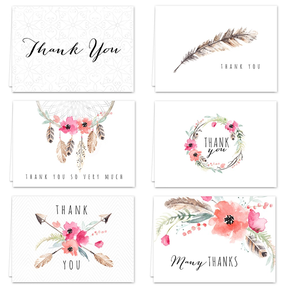 Image of 36ct Bohemian Theme Thank you Cards