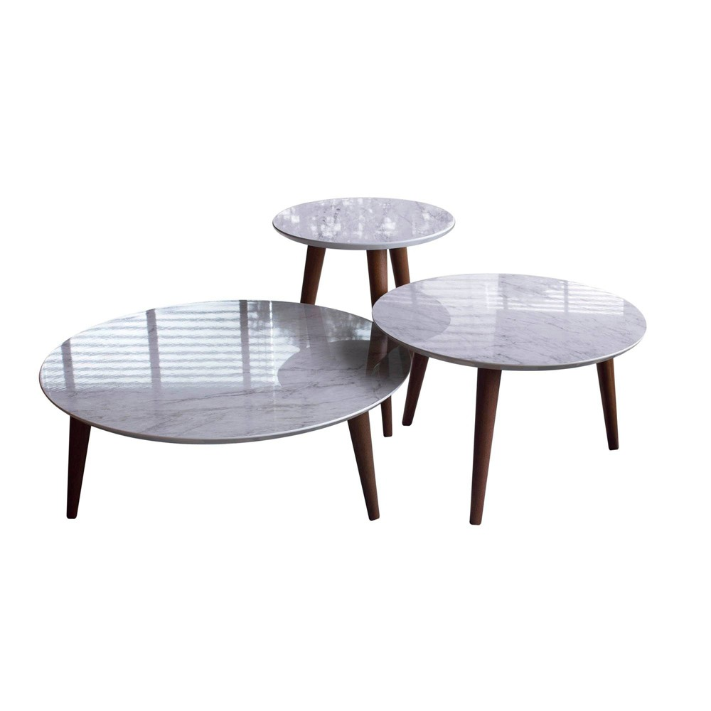 3pc Modern Moore Round End Table Gloss Marble Gray - Manhattan Comfort