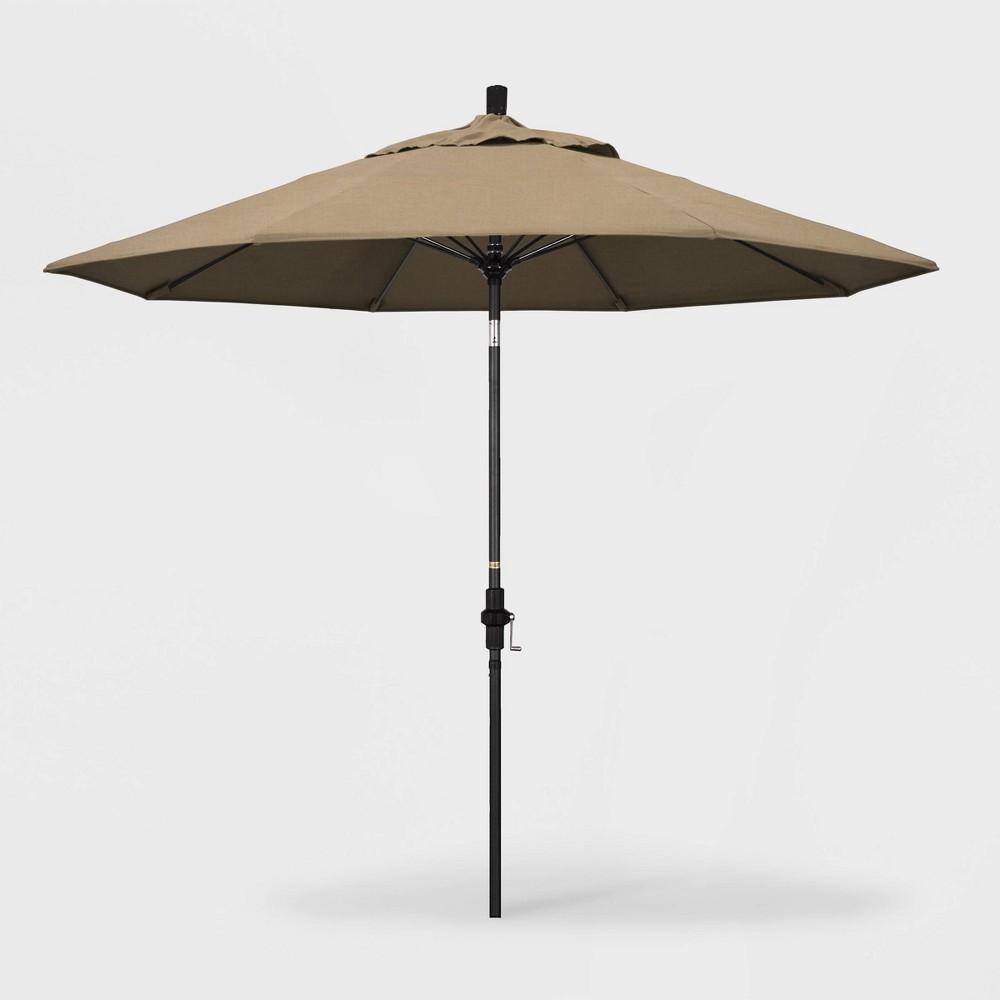 Image of 9' Sun Master Patio Umbrella Collar Tilt Crank Lift - Sunbrella Heather Beige - California Umbrella
