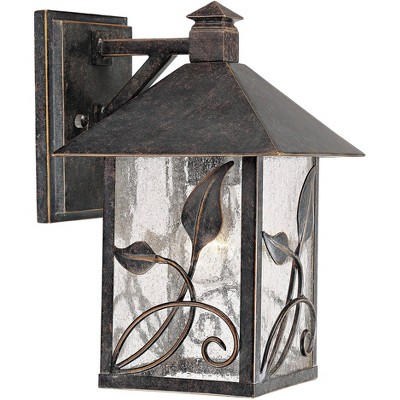 """Franklin Iron Works Farmhouse Outdoor Wall Light Fixture French Bronze Lantern 10 1/2"""" Clear Seedy Glass for Exterior Porch Patio"""