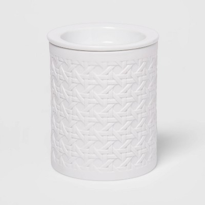 "5.2"" x 4.7"" Matte Porcelain Bamboo Pattern Wax Warmer White - Threshold™"