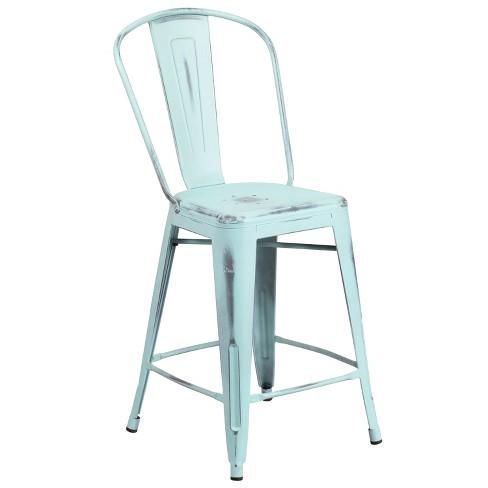 Surprising Riverstone Furniture Collection Distressed Metal Stool Green Blue Inzonedesignstudio Interior Chair Design Inzonedesignstudiocom