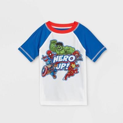 Toddler Boys' Avengers Rash Guard Swim Shirt - White