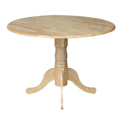 Round Drop-Leaf Pedestal Dining Table - International Concepts, Wood