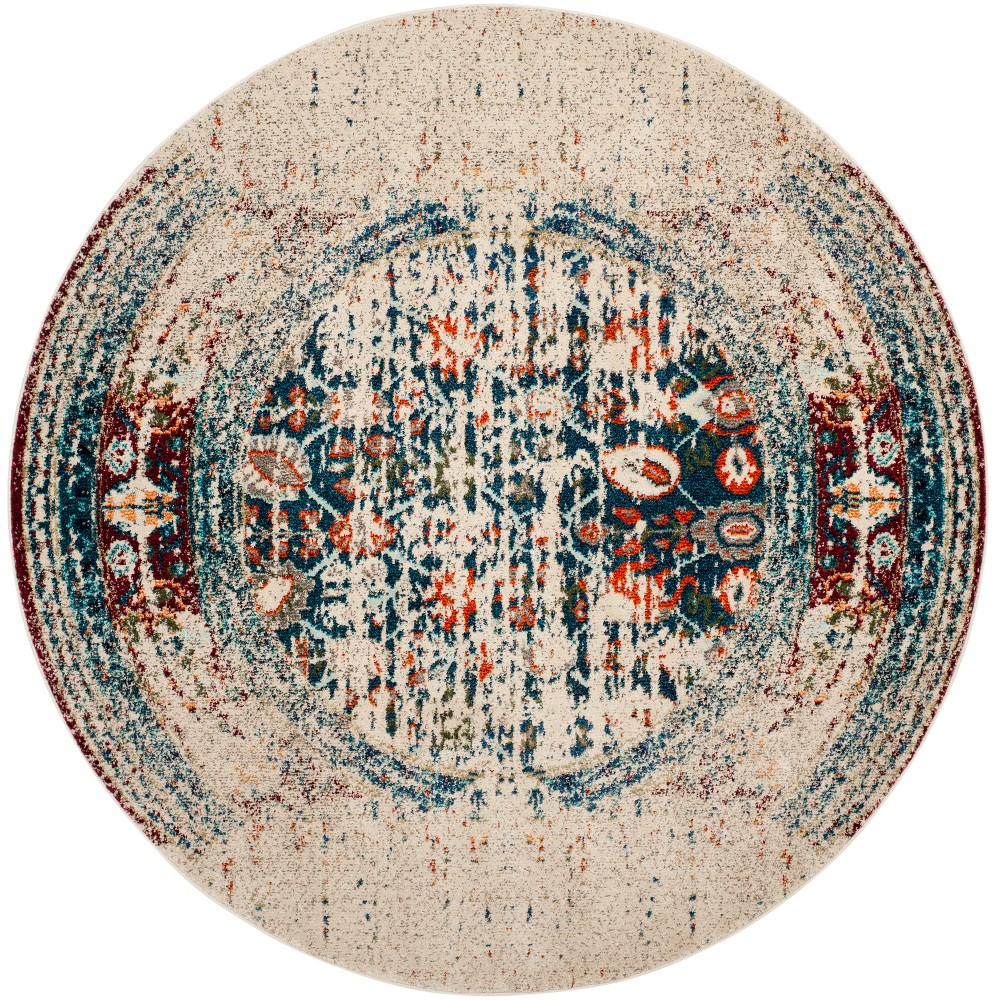 3 Shapes Round Accent Rug Ivory/Blue - Safavieh Buy