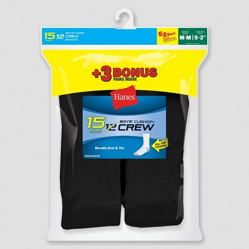 Hanes Boys' 12+3 Bonus Pack Crew Athletic Socks - Black - image 1 of 1