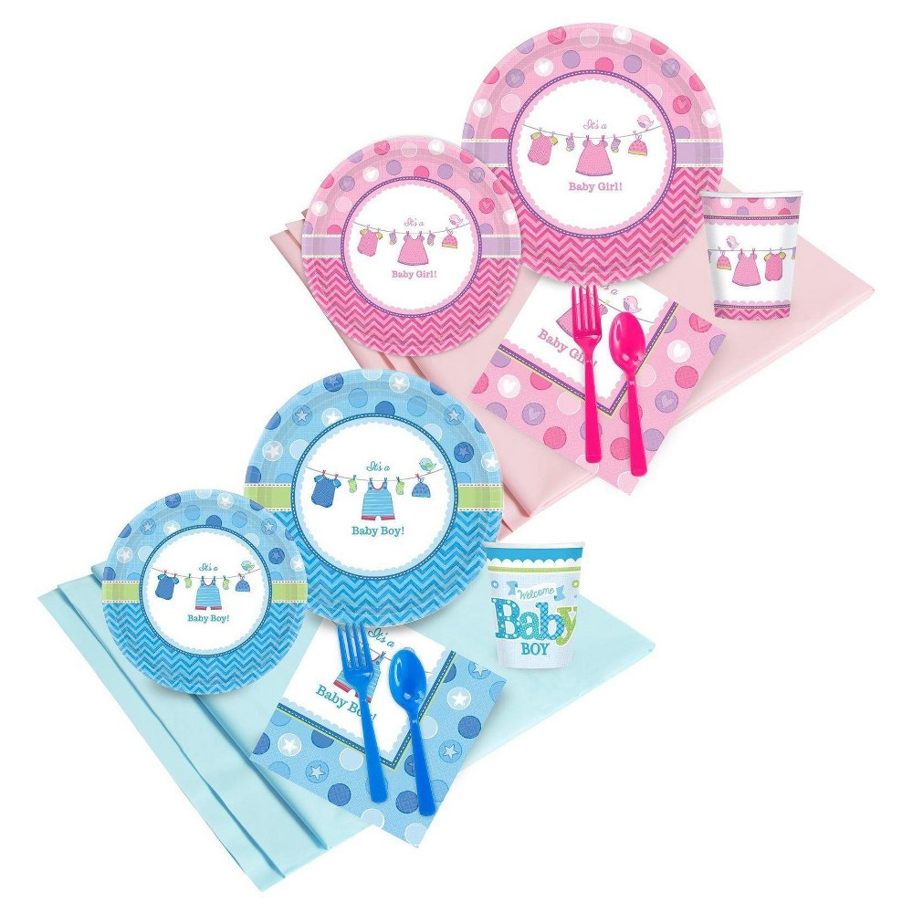 16 Guest Gender Reveal Shower with Love Party Pack, Multi-Colored