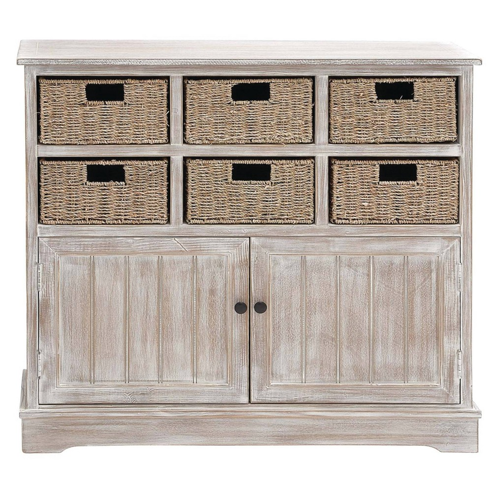 Wood Cabinet With Seagrass Drawers Brown Olivia 38 May
