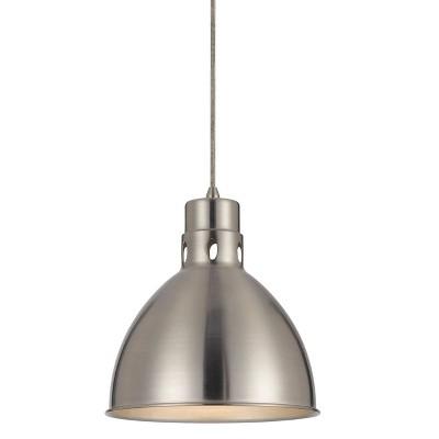 "10"" x 10.75"" Metal Webster Pendant Brushed Steel - Cal Lighting"
