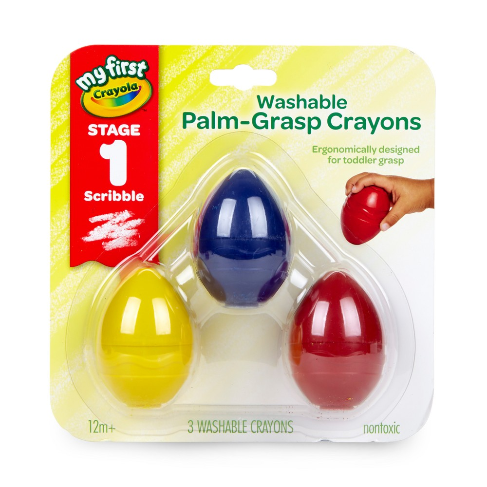 Crayola 3ct Washable Palm Grasp Crayons Stage 1, Multi-Colored