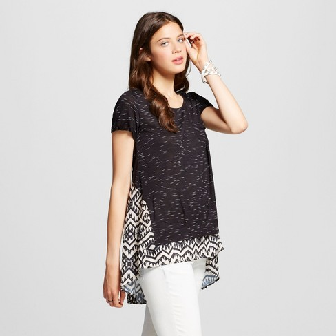 Women's Knit to Woven Hi-low T-shirt - Xhilaration™ Black L - image 1 of 2