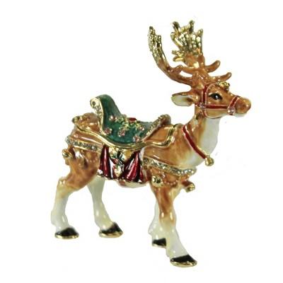 "Hinged Trinket Box 3.25"" Reindeer Box Christmas Antlers Saddle  -  Decorative Figurines"