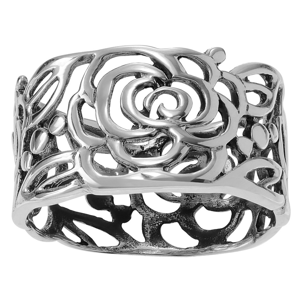 Women's Journee Collection Cut-out Roses Band in Sterling Silver - Silver, 9