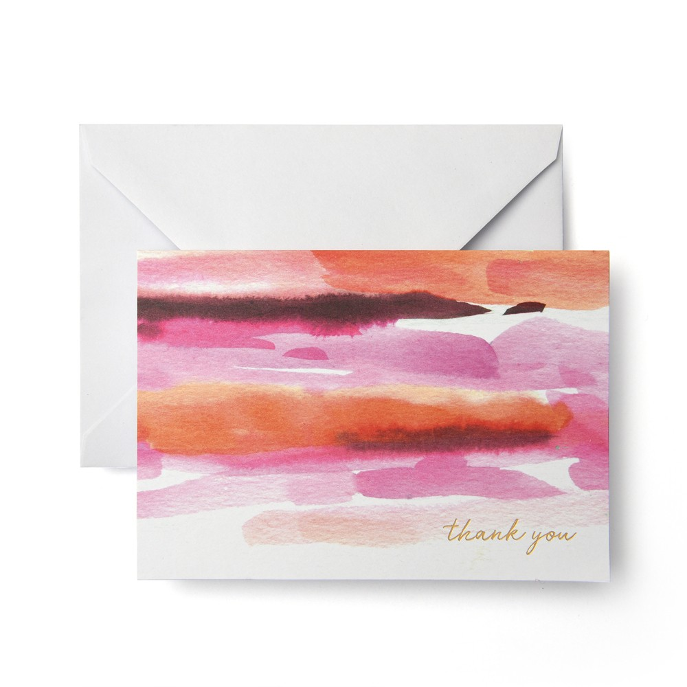"Image of ""24ct """"Thank You"""" Watercolor Cards - Mara Mi, Pink Red"""