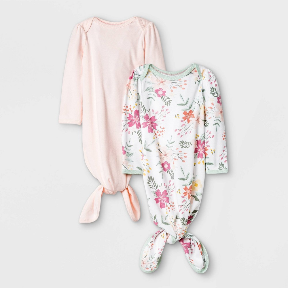 Baby Girls 39 2pk Meadow Tie Front Nightgown Cloud Island 8482 White Newborn