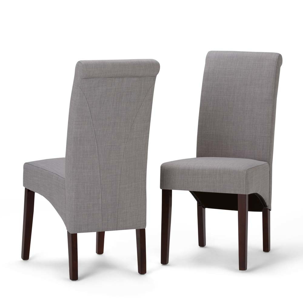 FranklDeluxe Parson Dining Chair Set of 2 Dove Gray Linen Look Fabric - Wyndenhall