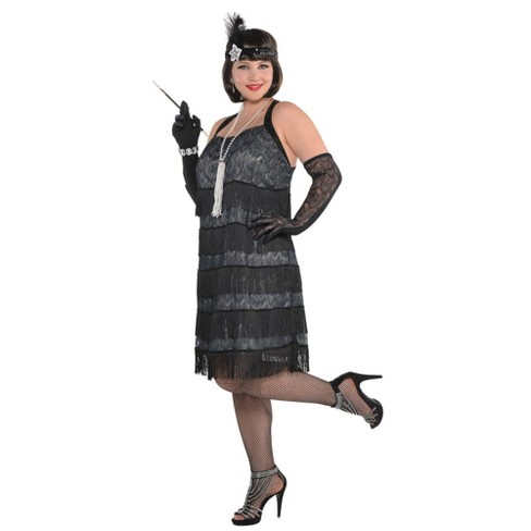 Adult Plus Lace Flapper Halloween Costume - One Size - image 1 of 1