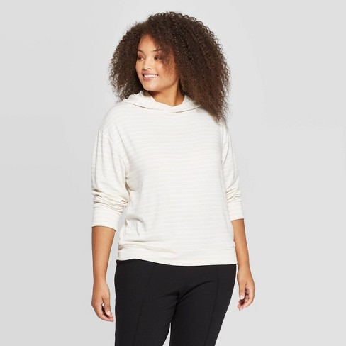 Women's Plus Size Striped Long Sleeve Hooded Snit T-Shirt - A New Day™ - image 1 of 3
